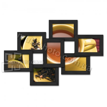 Деревянная мультирамка Семь чудес черная на 7 фото