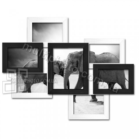 Деревянная мультирамка Семь чудес черно-белая на 7 фото