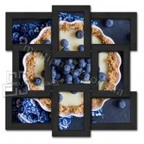 Деревянная мультирамка Классика на 9 фото черная