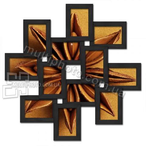 Деревянная мультирамка Зигзаг на 12 фото черная