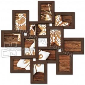 Деревянная мультирамка Зигзаг на 12 фото венге