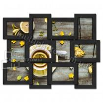 Деревянная мультирамка Классика на 12 фото черная