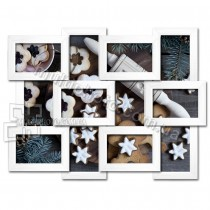 Деревянная мультирамка Классика на 12 фото белая