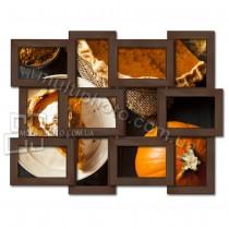 Деревянная мультирамка Классика на 12 фото венге