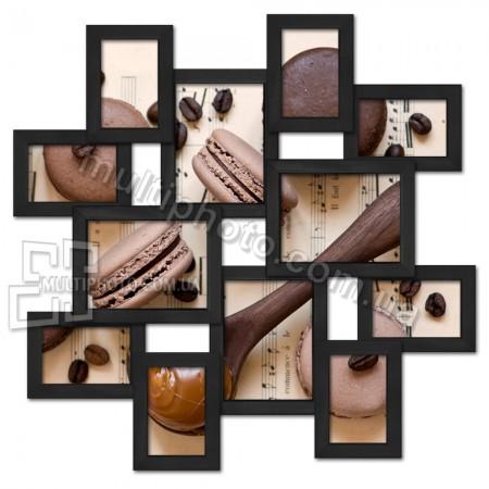 Деревянная мультирамка маленькое Путешествие на 12 фото черная