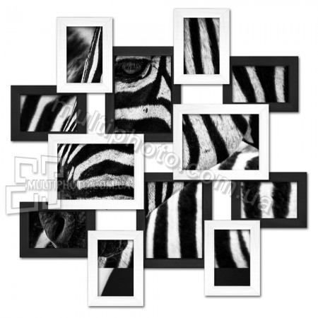 Деревянная мультирамка маленькое Путешествие на 12 фото черно-белая