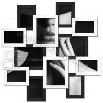 Деревянная мультирамка большое Путешествие на 12 фото черно-белая 100x100