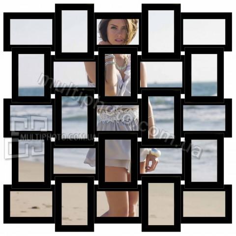 Деревянная мультирамка Классика на 25 фото черная