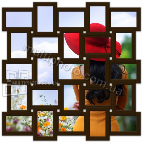 Деревянная мультирамка Классика на 25 фото венге