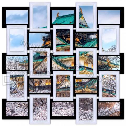 Деревянная мультирамка Классика на 25 фото черно-белая
