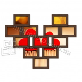 Мультирамка деревянная Love венге на 12 фото 10x15
