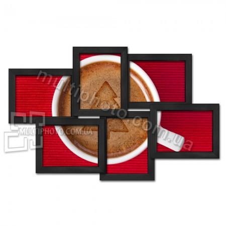 Мультирамка деревянная Александрия черная 6 фото 75х55 см