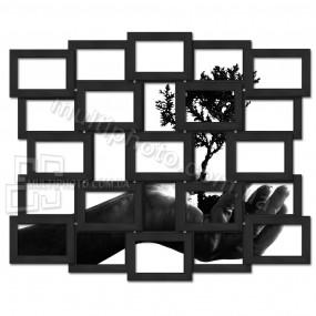 Деревянная мультирамка на  25 фото Восток черная 85x70 см