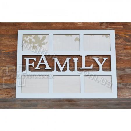 Белый деревянный коллаж Family на 6 фото