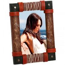 Фоторамка кожаная Черно- коричневая Макей 549-07-01