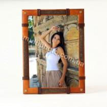 Фоторамка кожаная Оранжевая с коричневой вставкой Макей 554-07-02