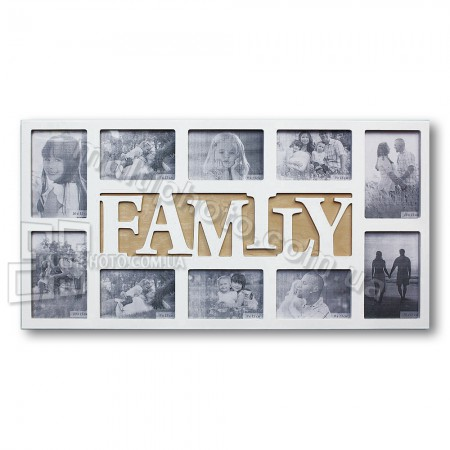 Белая деревянная мультирамка Family на 10 фото