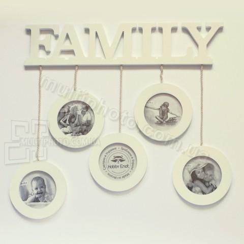 Древянная мультирамка Family на 5 фото