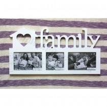 Деревянная мультирамка Family на 3 фото белая