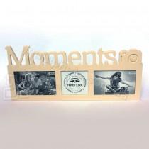 Древянная мультирамка Moments на 3 фото бежевая