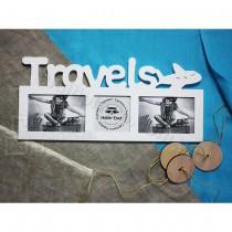 Древянная мультирамка Travels на 3 фото белая