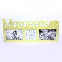 Древянная мультирамка Moments на 3 фото желтая