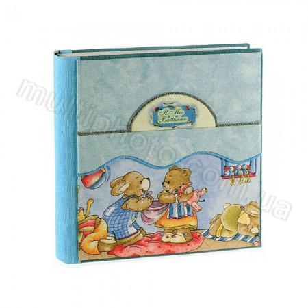 Кожаный фотоальбом детский Inobili Allegria голубой Alleg-b 33x33см