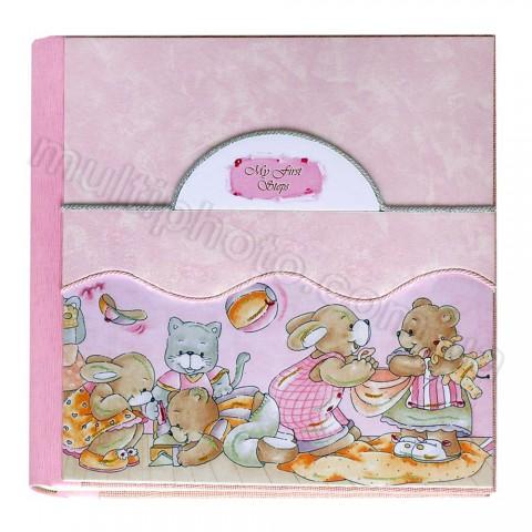 Кожаный фотоальбом детский Inobili Allegria розовый Alleg-p 33x33см