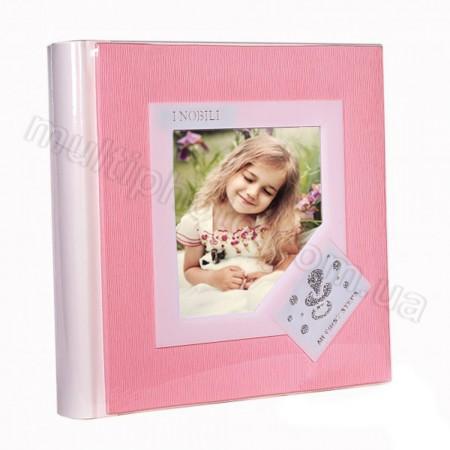 Кожаный фотоальбом детский Inobili Candore розовый CANros 33x33см