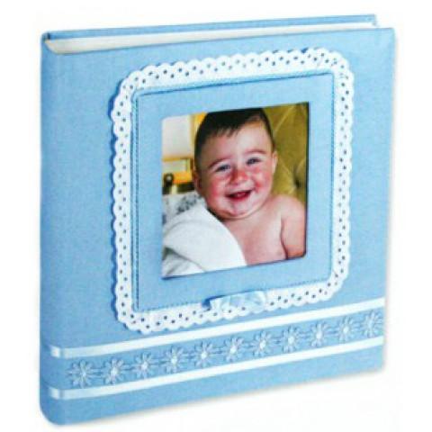 Кожаный фотоальбом детский Inobili Tenerezza голубой TENazz 33x33см