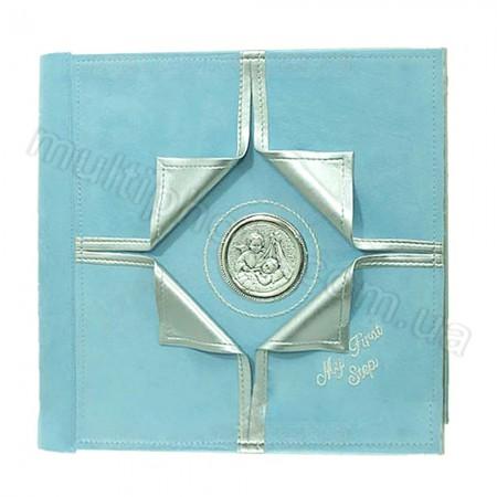 Кожаный фотоальбом детский Inobili Prezioso голубой PR2 33x33см