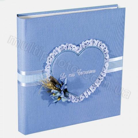 Кожаный фотоальбом детский Inobili Sogno голубой SOG azz 33x33см