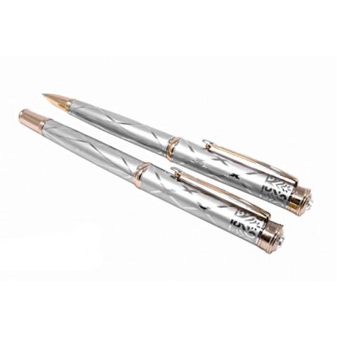 Набор ручек-шариковая и перьевая silver with gold, Gianni Terra HH122/B-F