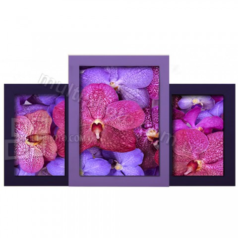 Мультирамка Пьедестал почета на 3 фото фиолетовая