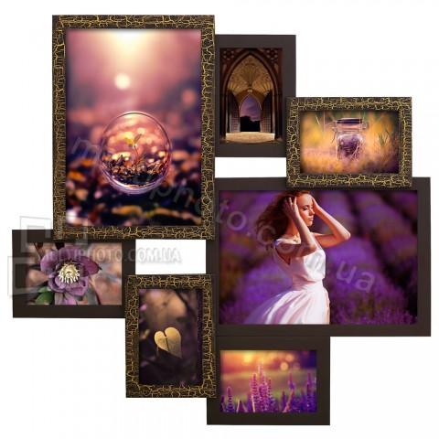 Деревянная мультирамка Руноко на 7 фото Волна шоколад