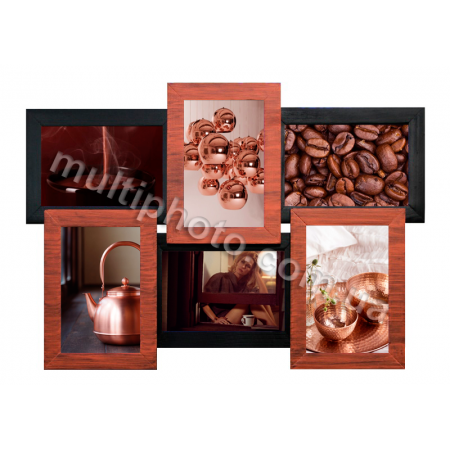Мультирамка Медное Мерцание 6 на 6 фото Руноко 50x33 см