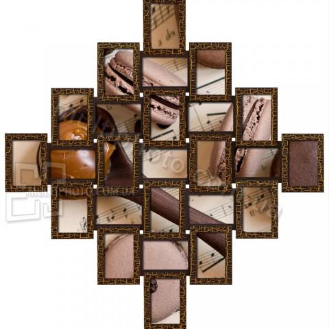 Мульти-фоторамка Руноко Ромб 25L Золотой Шоколад
