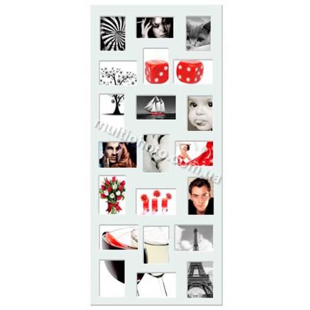 Мультирамка Белая Multimus на 21 фото 120x50 см