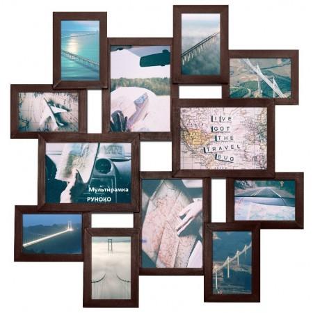 Мультирамка МЕГА Путешествие Венге на 12 фото Руноко 100x100 см