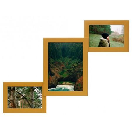 Мультирамка Лесенка-3 Золото на 3 фото Руноко 52x32 см