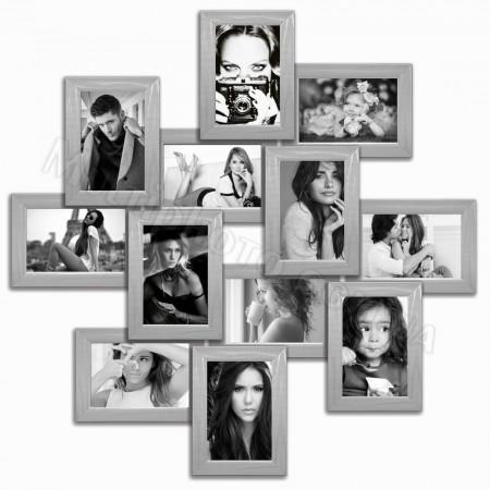 Мультирамка на 12 фото Руноко Зигзаг серебро 65x65 см
