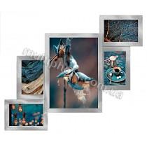 Мультирамка Комбо Серебристая на 5 фото Руноко 60x50 см