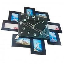 Мультирамка с часами RT Zig-zag Black на 8 фото 52x52 см