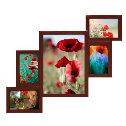 Мультирамка Комбо Красное дерево на 5 фото Руноко 60x50 см
