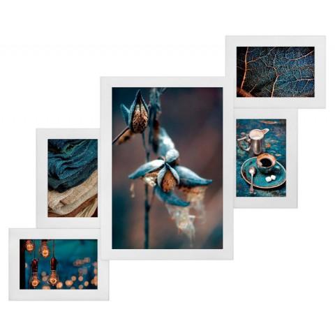 Мультирамка Комбо Белая на 5 фото Руноко 60x50 см
