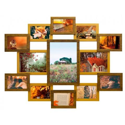 Мультирамка Симметрия Двойное Золото на 13 фото Руноко 85x70 см