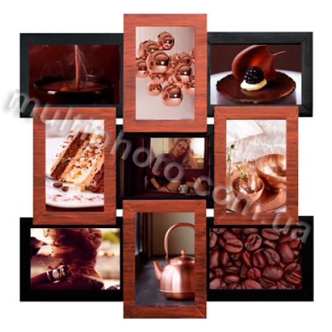 Мультирамка Медное Мерцание 9 на 9 фото Руноко 50x50см