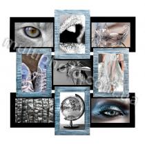 Мультирамка Серебряное Мерцание 9 на 9 фото Руноко 50x50см