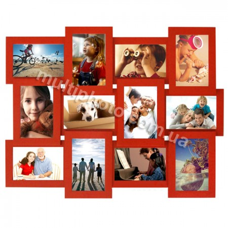 Мультирамка Красная на 12 фото Руноко 60x50см
