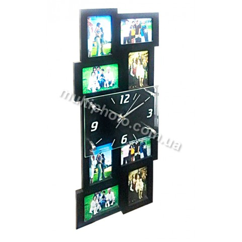 Мультирамка с часами RT High Black на 8 фото 65x30 см